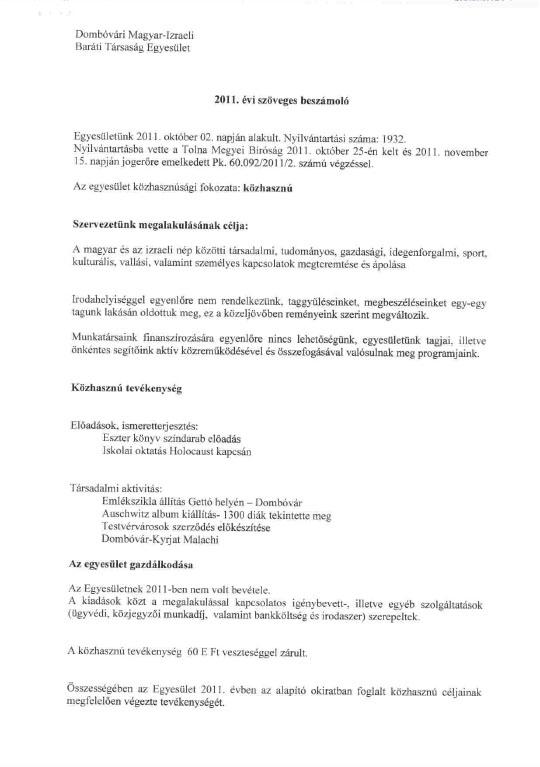 2011. évi szöveges beszámoló - kiegészítő melléklet