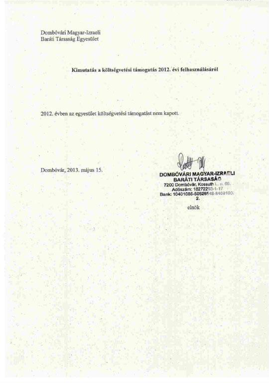 Kimutatás költségvetési támogatásról - 2012