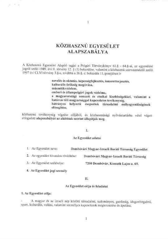 Közhasznú egyesület alapszabálya