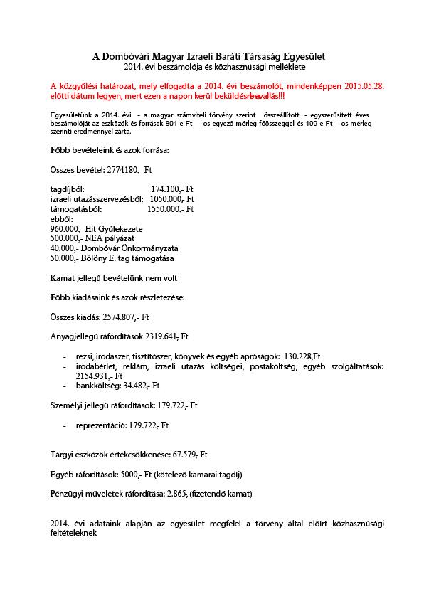 Az egyszerűsített éves beszámoló eredmény-kimutatása 2. - 2013